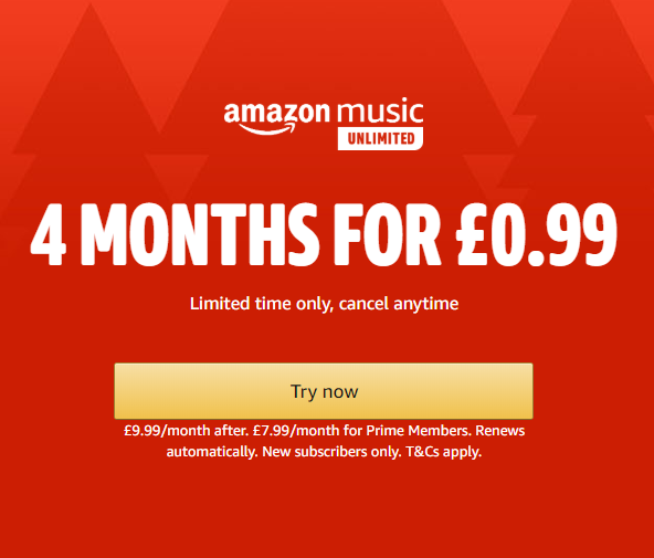 Amazon Music 4 Months for £0.99