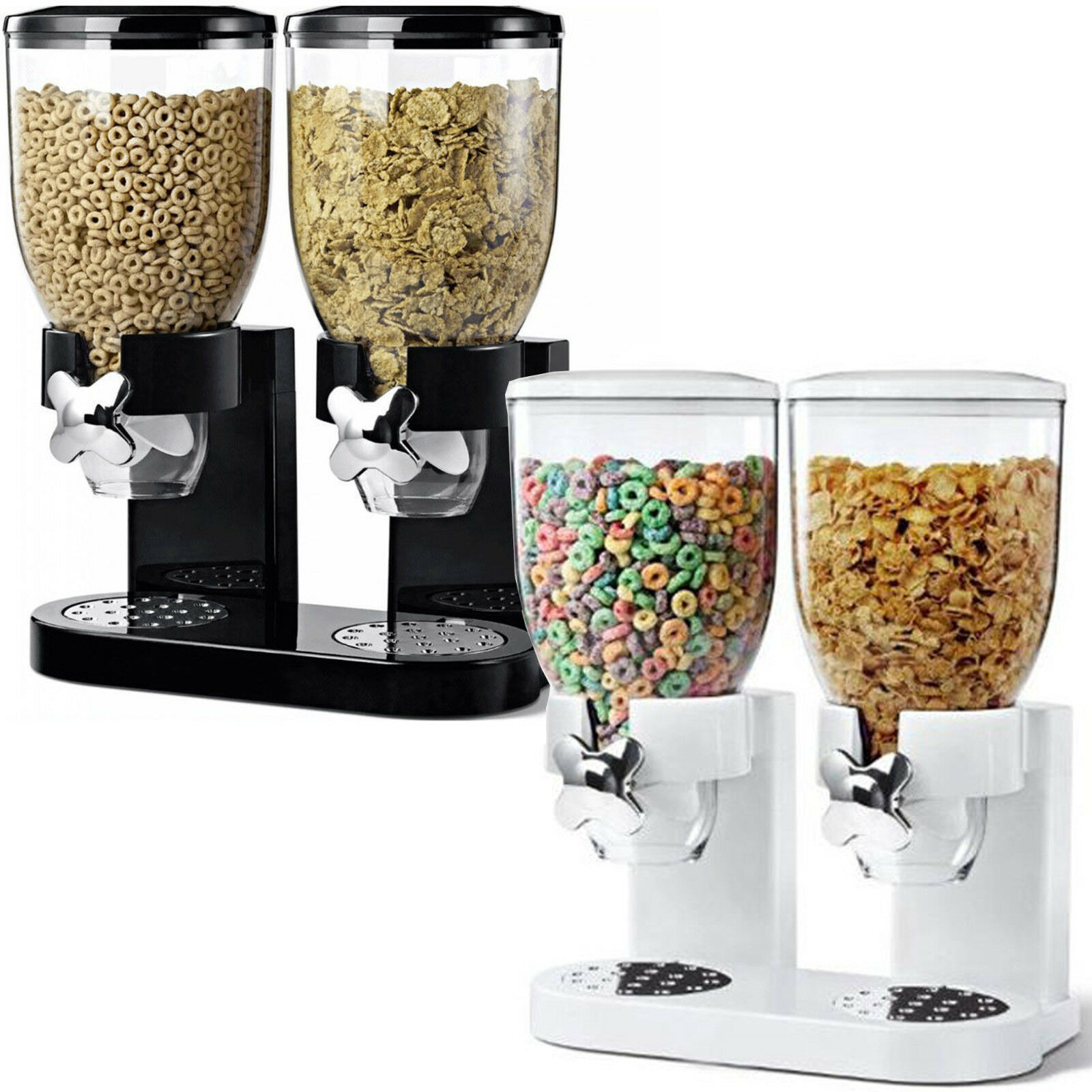 Double Cereal Dispenser Dry Food Storage Container Dispenser Machine 2 Colours Delivered on ebay