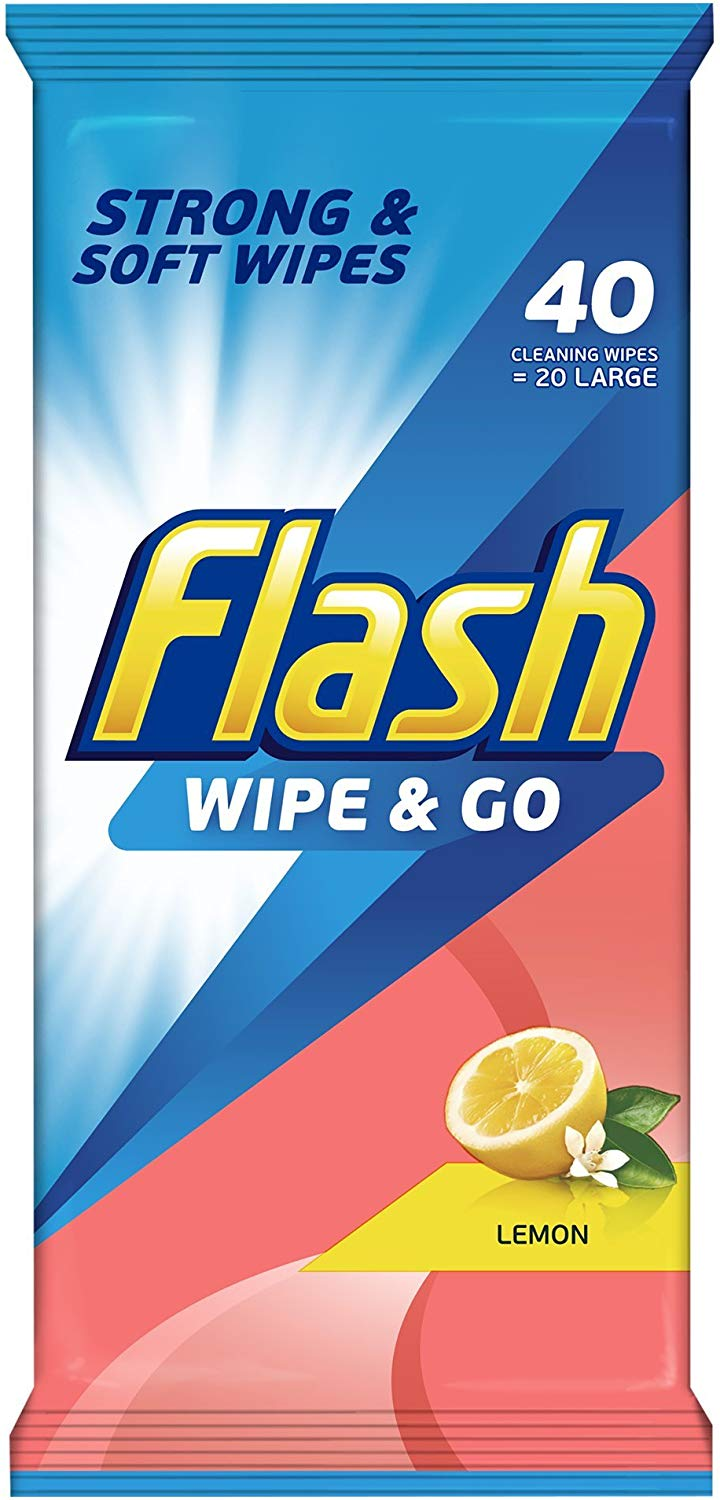 Flash Wipe and Go Lemon, 40 Wipes only £0.59 for Prime Member Only