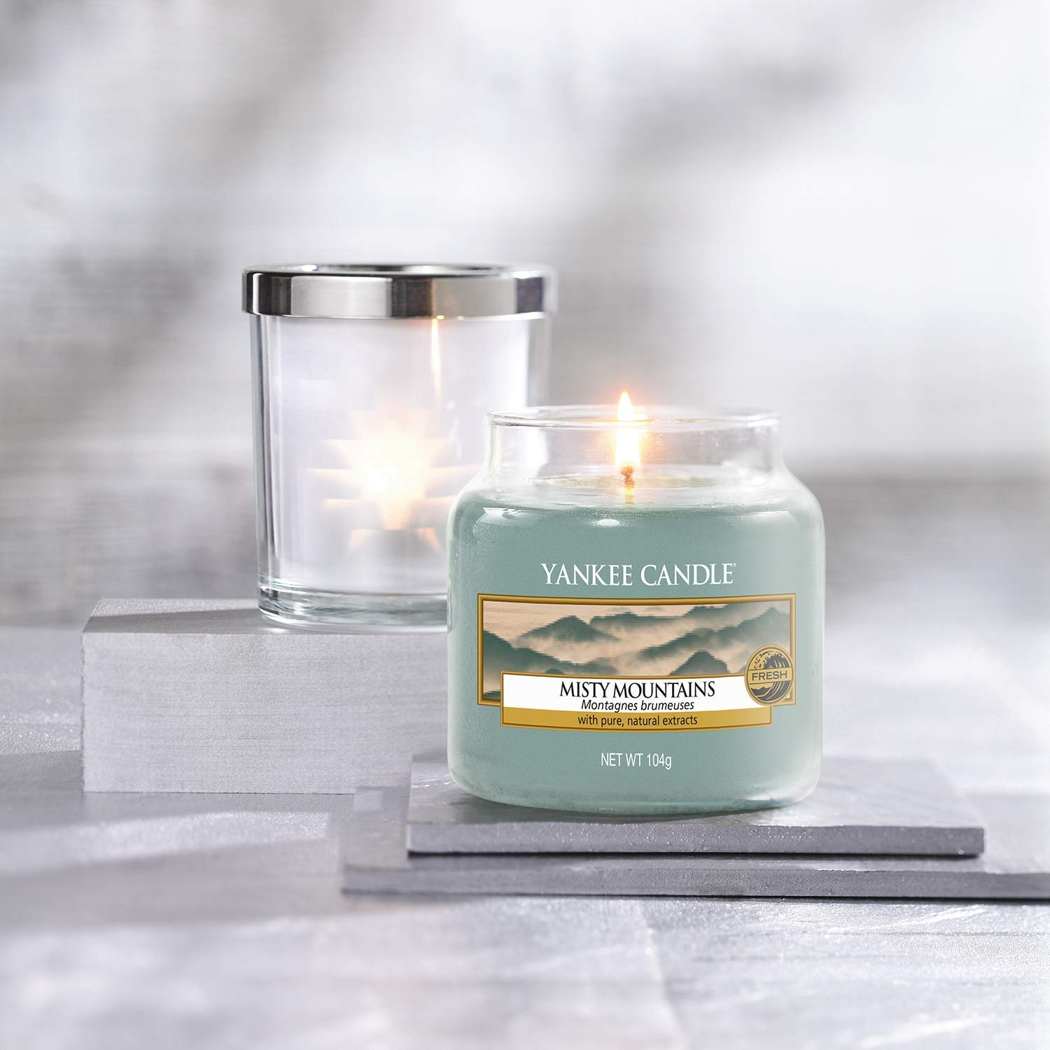 Yankee Candle Small Jar Scented Candle, Misty Mountains, Up to 30 Hours Burn Time for £6.99 now