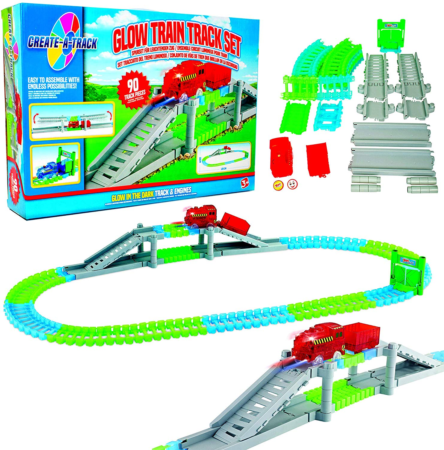 Create-A-Track Flexible Train Track & Light Up Train Set Only £3.99 on Amazon