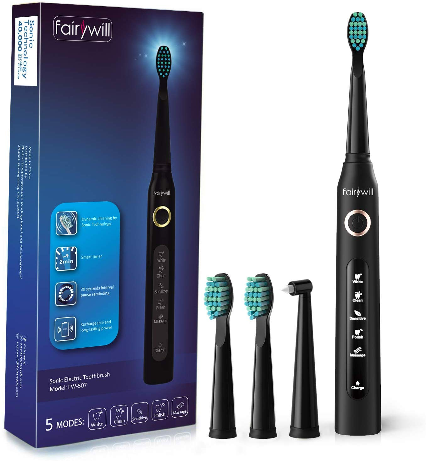 Fairywill Sonic Toothbrush 5 Optional Modes,3 Brush Heads Black for £15.29 Prime