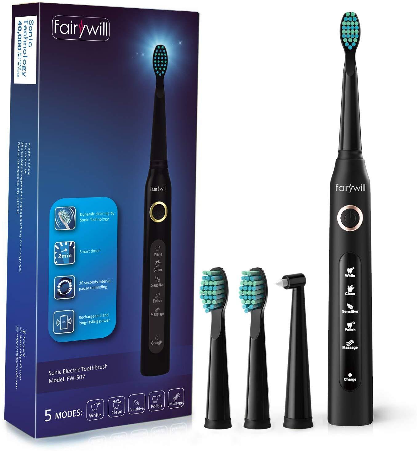 Fairywill Sonic Toothbrush 5 Optional Modes,3 Brush Heads Black for £15.29 Prime