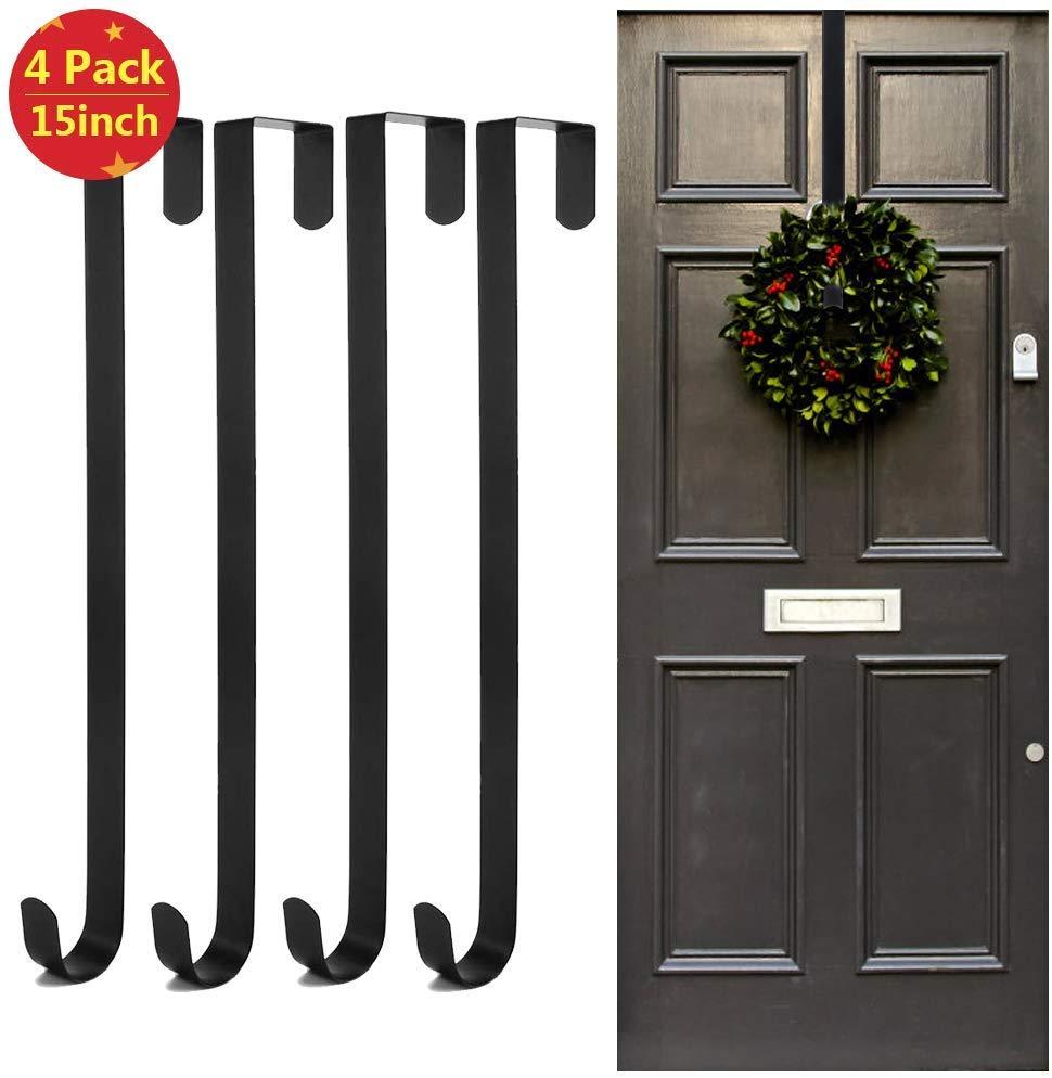 4 Pack Metal Wreath Hanger Over The Door – 15 inch for £11.04 with voucher on Amazon