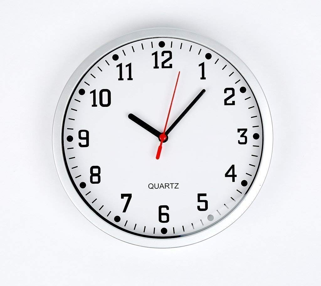 Large Silver Round Stylish Wall Clock
