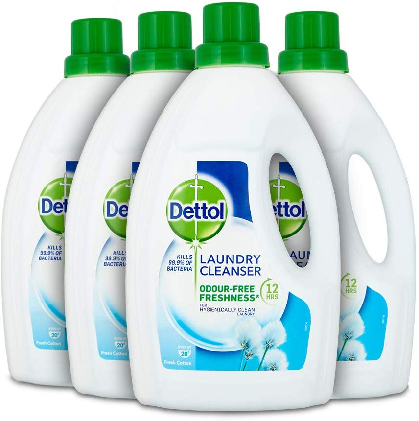 Dettol Antibacterial Laundry Cleanser Liquid Additive, Fresh Cotton, Multipack of 4 x 1.5 Litre for £7.49