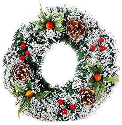 TiooDre Pre-Lit Decorated Wreath Pine Cone and Berry Christmas Tree Decoration £2.99 FREE delivery
