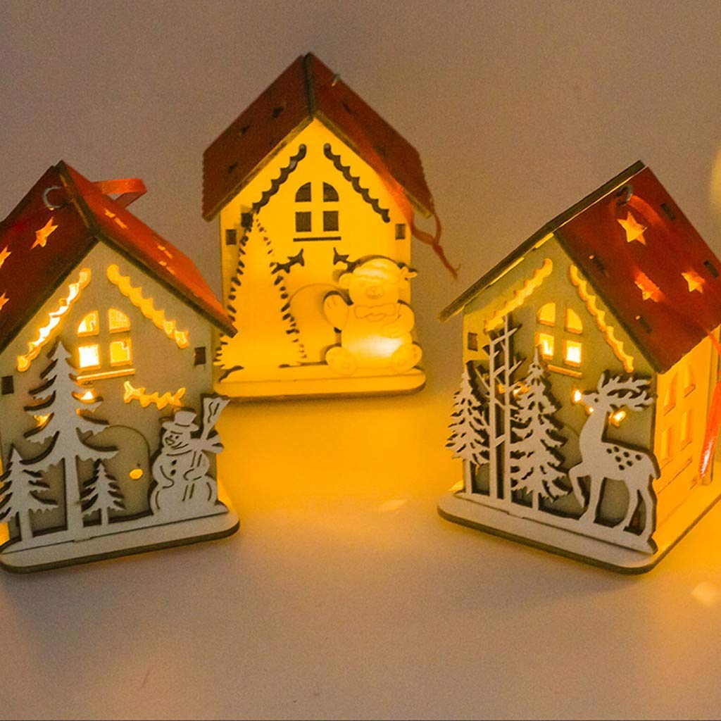 LED Light Christmas Wood House