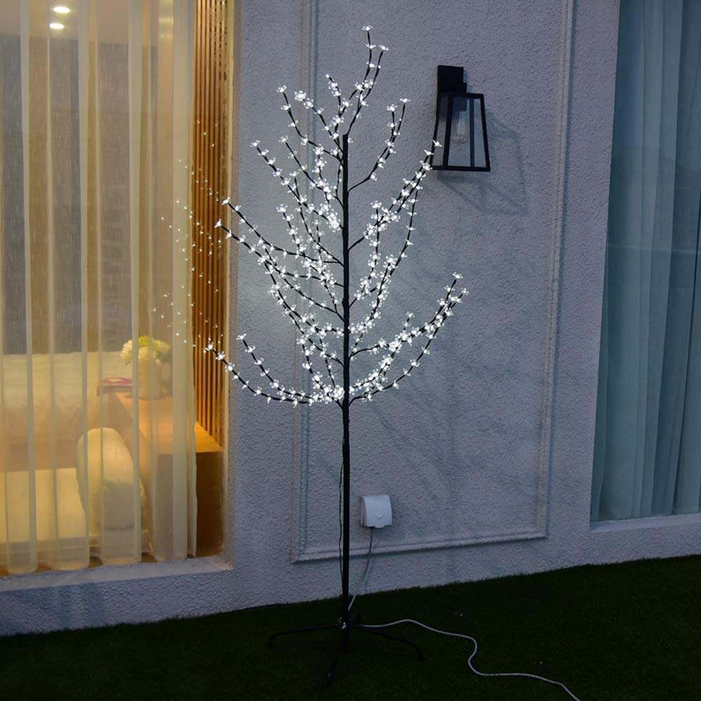wolketon 1.8m White LED Blossom Tree with 160 LEDs Cherry Blossom Tree Bendable Stable Metal Base