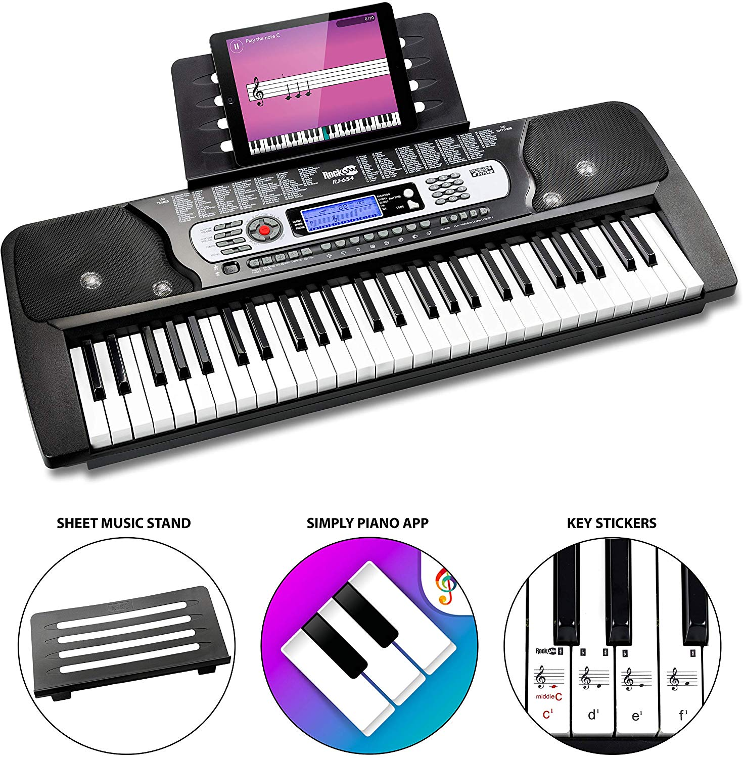 36% off RockJam 54-Key Portable Digital Piano Keyboard