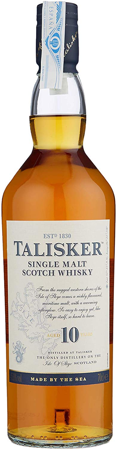 Talisker 10 Year Old Single Malt Scotch Whisky – 70cl for £24.49 on Amazon