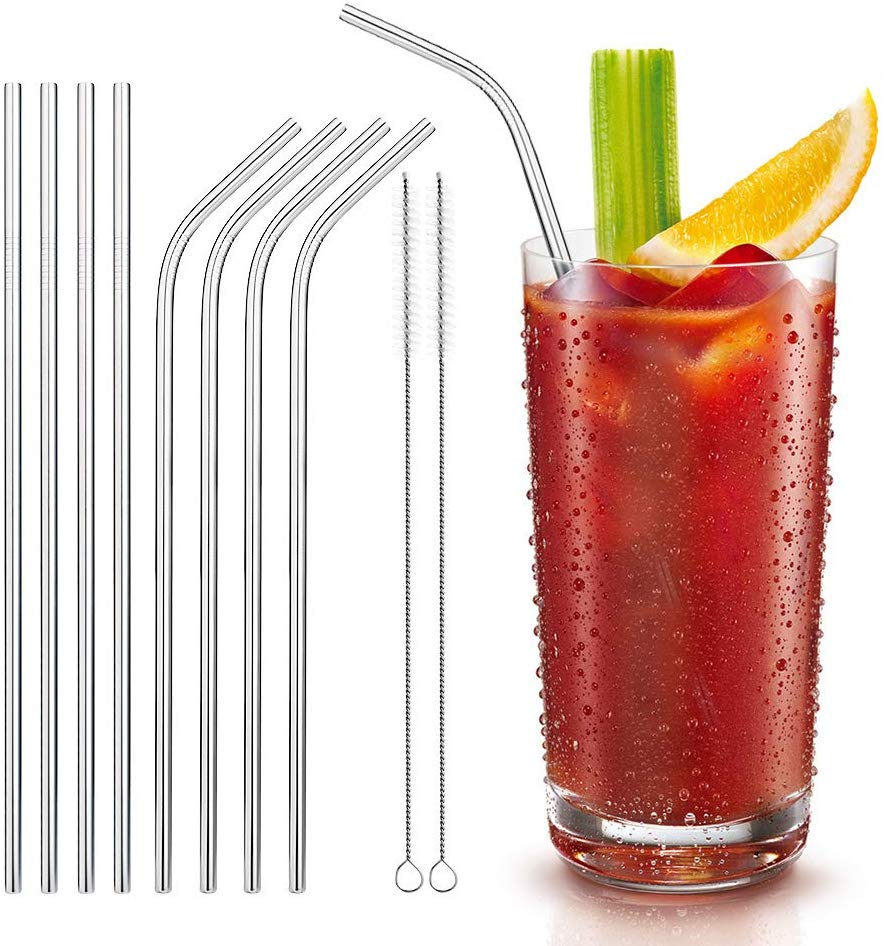 Reusable 8 Set Metal Drinking Straws with 2 Cleaning Brush £3.95 on Amazon