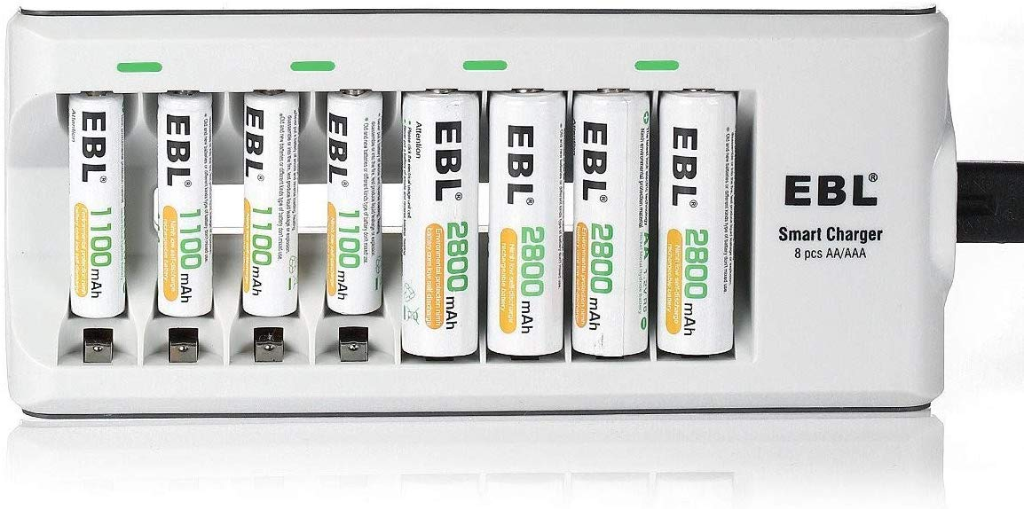 808 AA AAA Battery Charger with 2800mAh AA Rechargeable Batteries (4 Pack) and 1100mAh AAA Rechargeable Batteries (4 Pack)