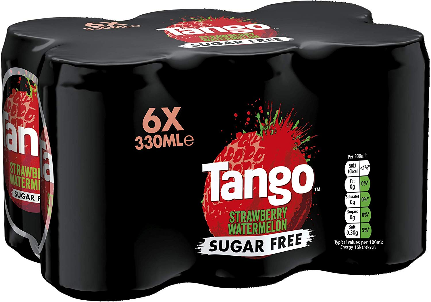 Tango Sugar Free Strawberry and Watermelon, 330 ml (Pack of 6) Prime Only