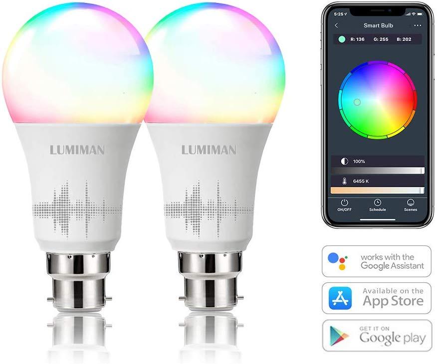 Alexa Smart WiFi Light Bulbs B22 Bayonet 2 Pack Now £15.99 Prime +£4.49 Non Prime