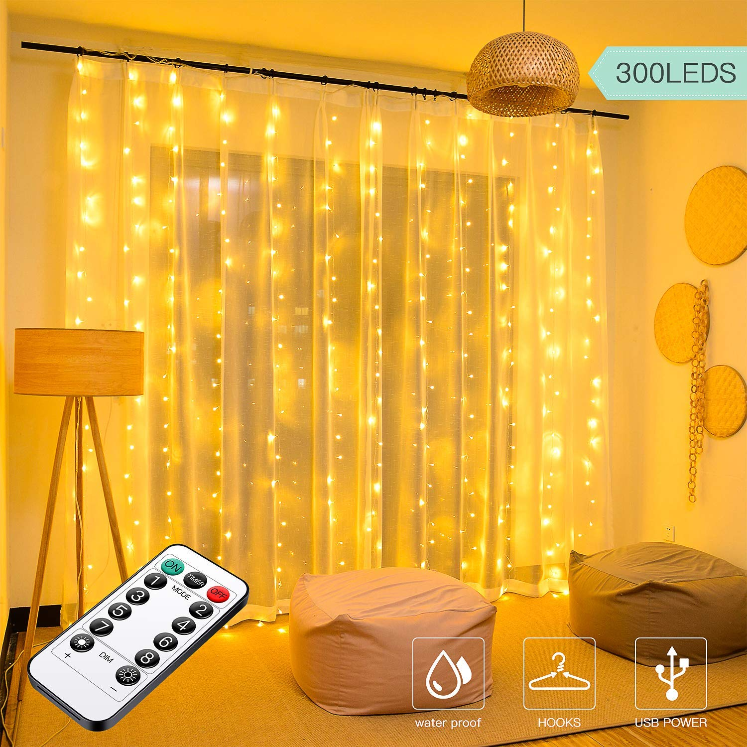 300 LED Curtain Lights,3mx3m USB Plug in Window Lights Only for £9.89