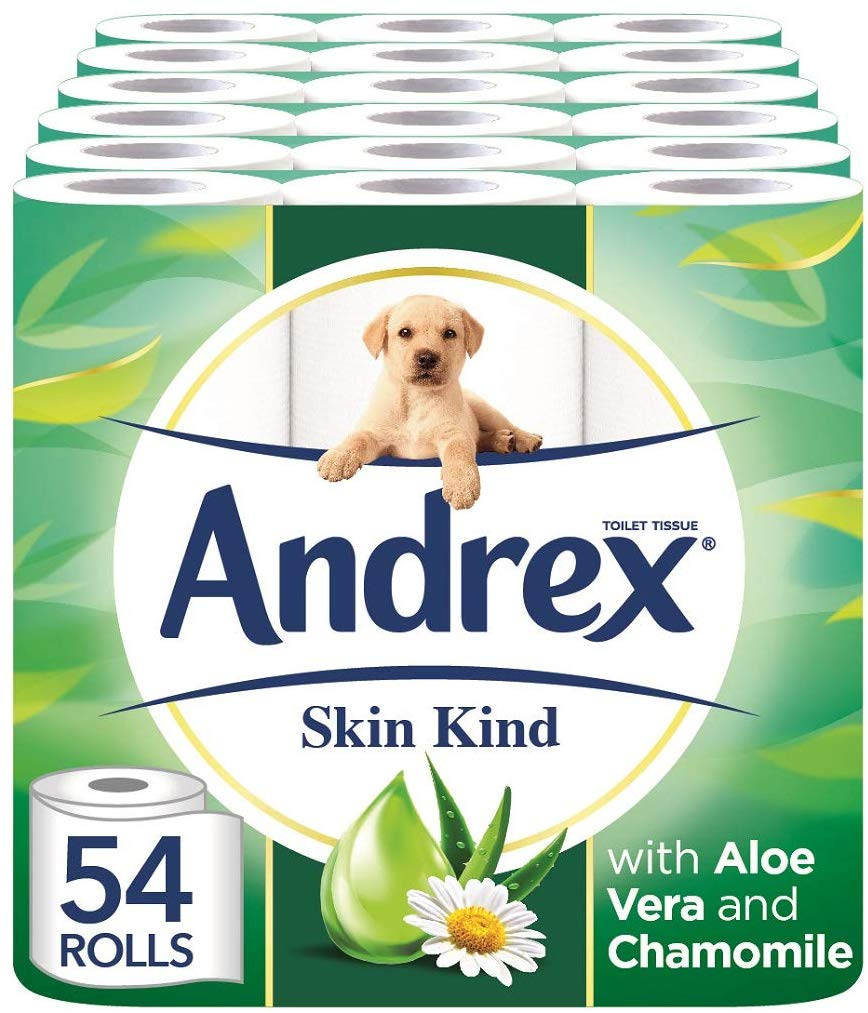 Andrex Toilet Roll Skin Kind, with Aloe Vera, 54 Rolls Now £27