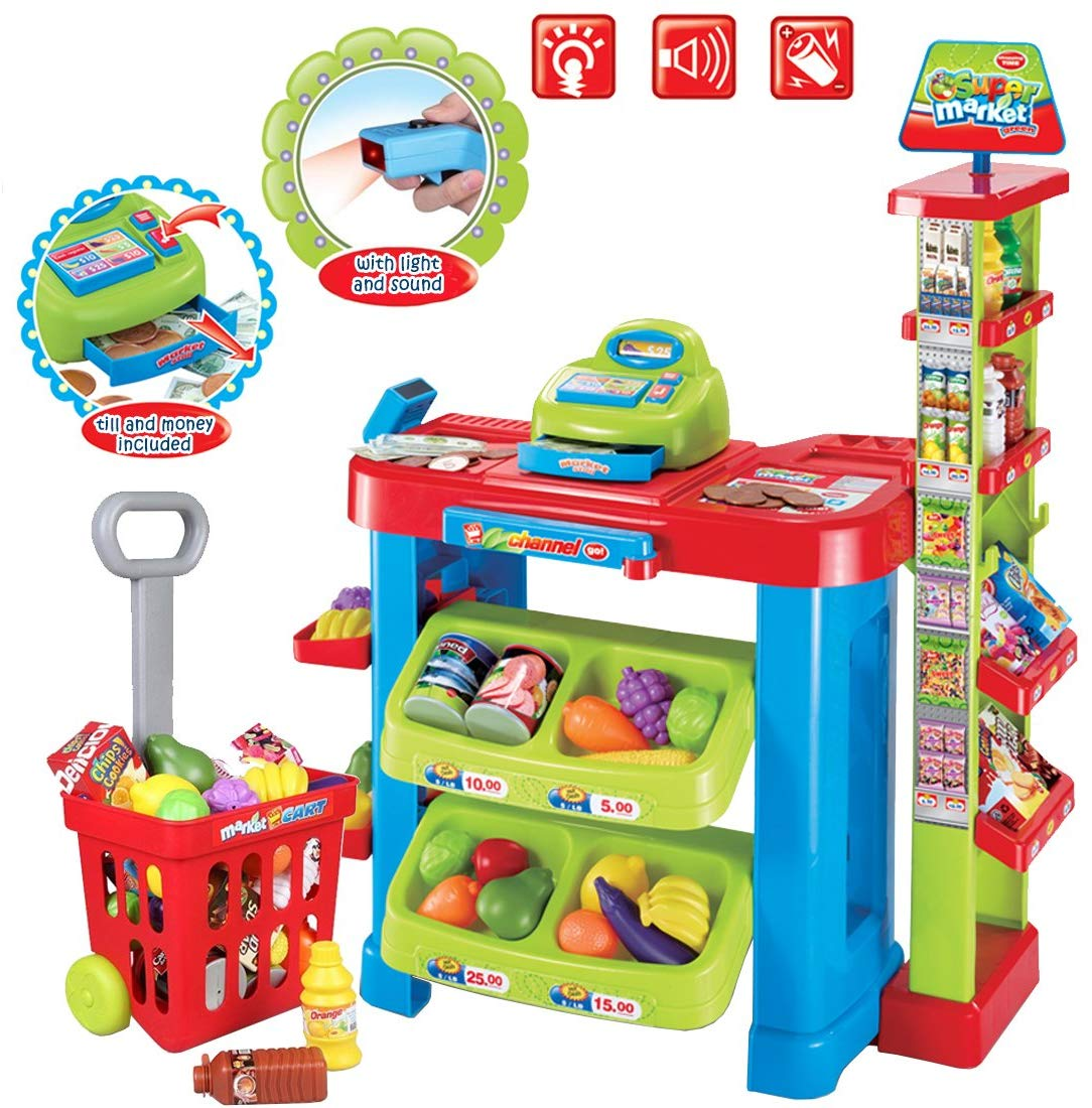 Half Price Kids Supermarket Stall Toy Shopping Trolley and Over 30 Play Food Accessories Included