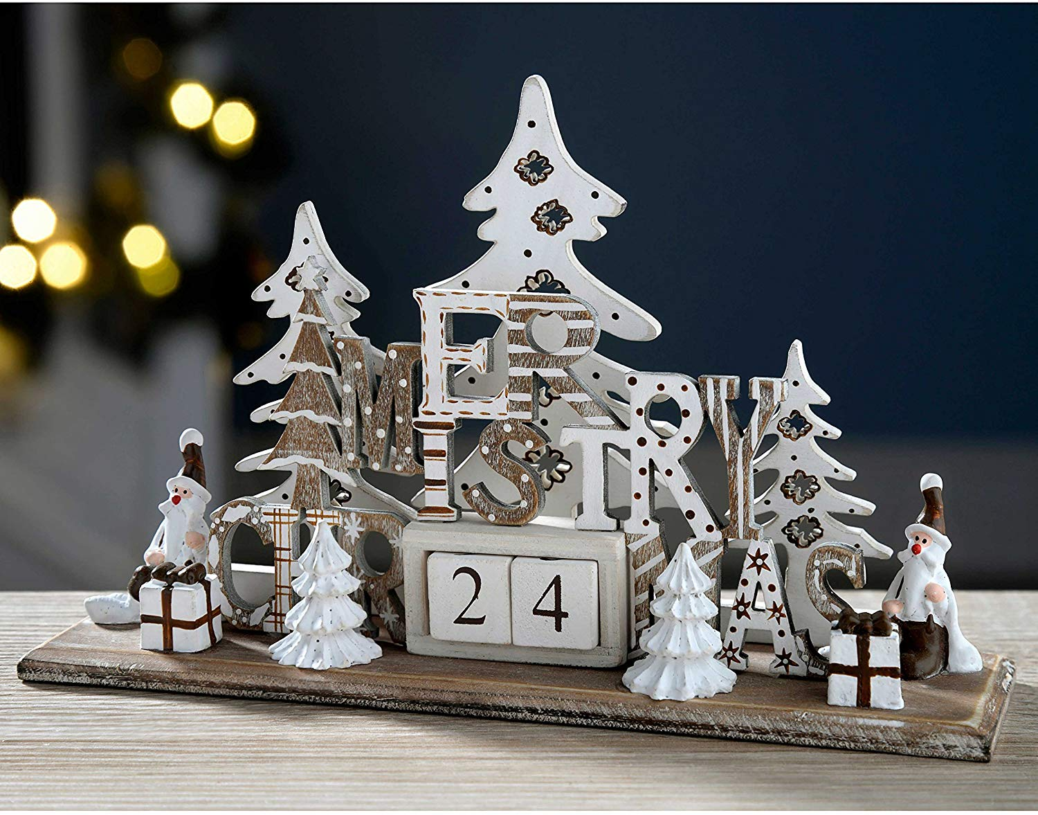 61% off Wooden Christmas Scene Advent Calendar Decoration, Wood, 21 cm