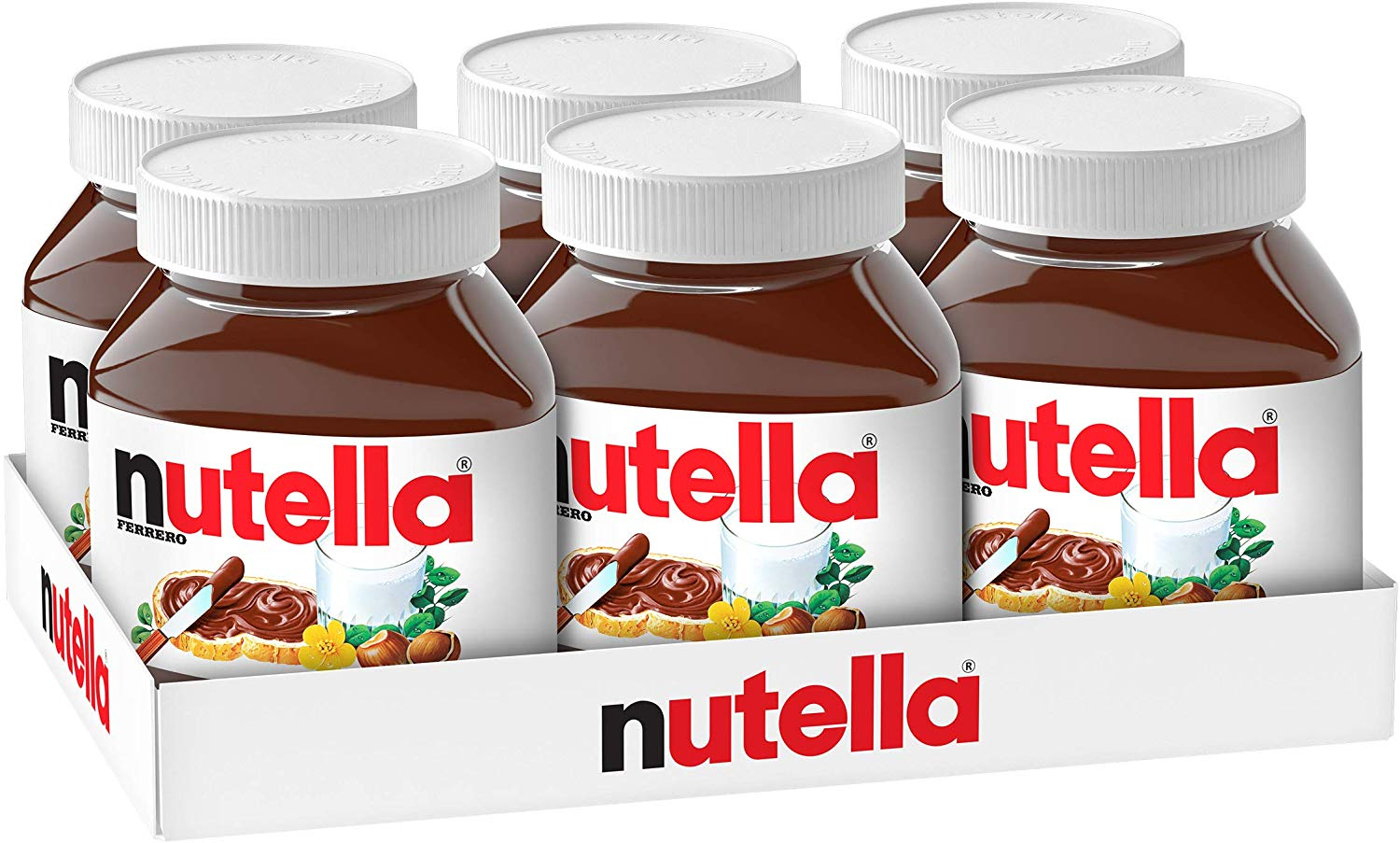Nutella Hazelnut Spread with Cocoa, Jar, 750 g (Pack of 6) for