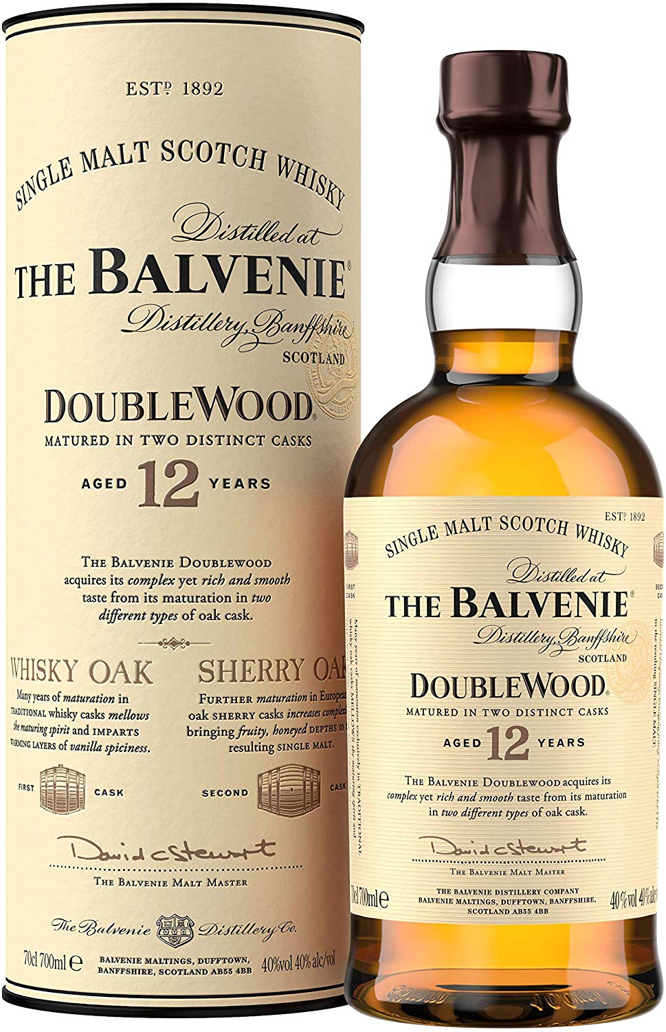 The Balvenie Double Wood 12 Year Old Single Malt Scotch Whisky 70 cl for £34.95  on Amazon