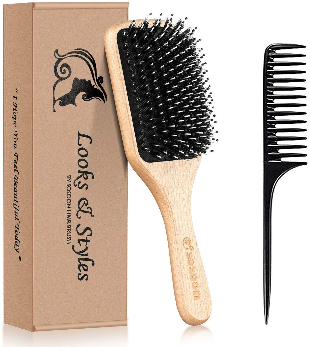 60% off Boar Bristle Paddle Hairbrush Set for Long Thick Curly Wavy Dry or Damaged Hair