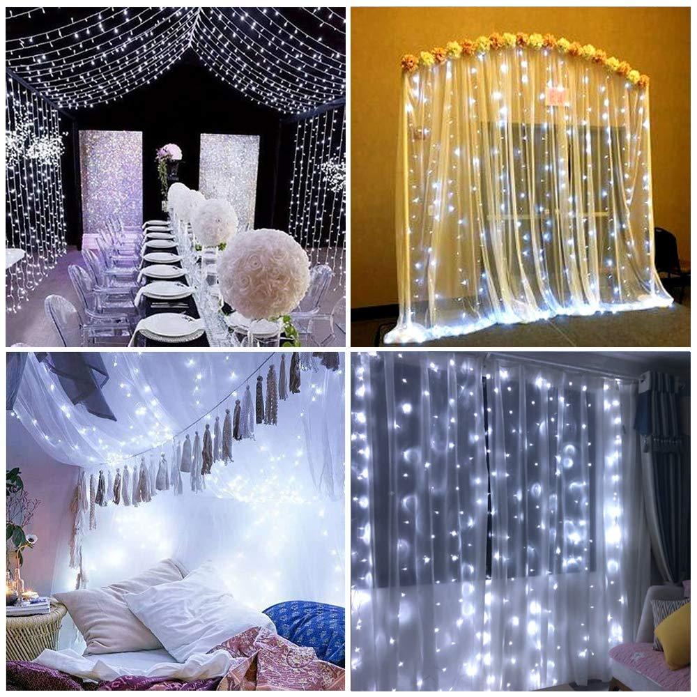 Ollny Curtain Lights 6.6ft x 6.6ft Bright White Window String Fairy Lights USB Powered