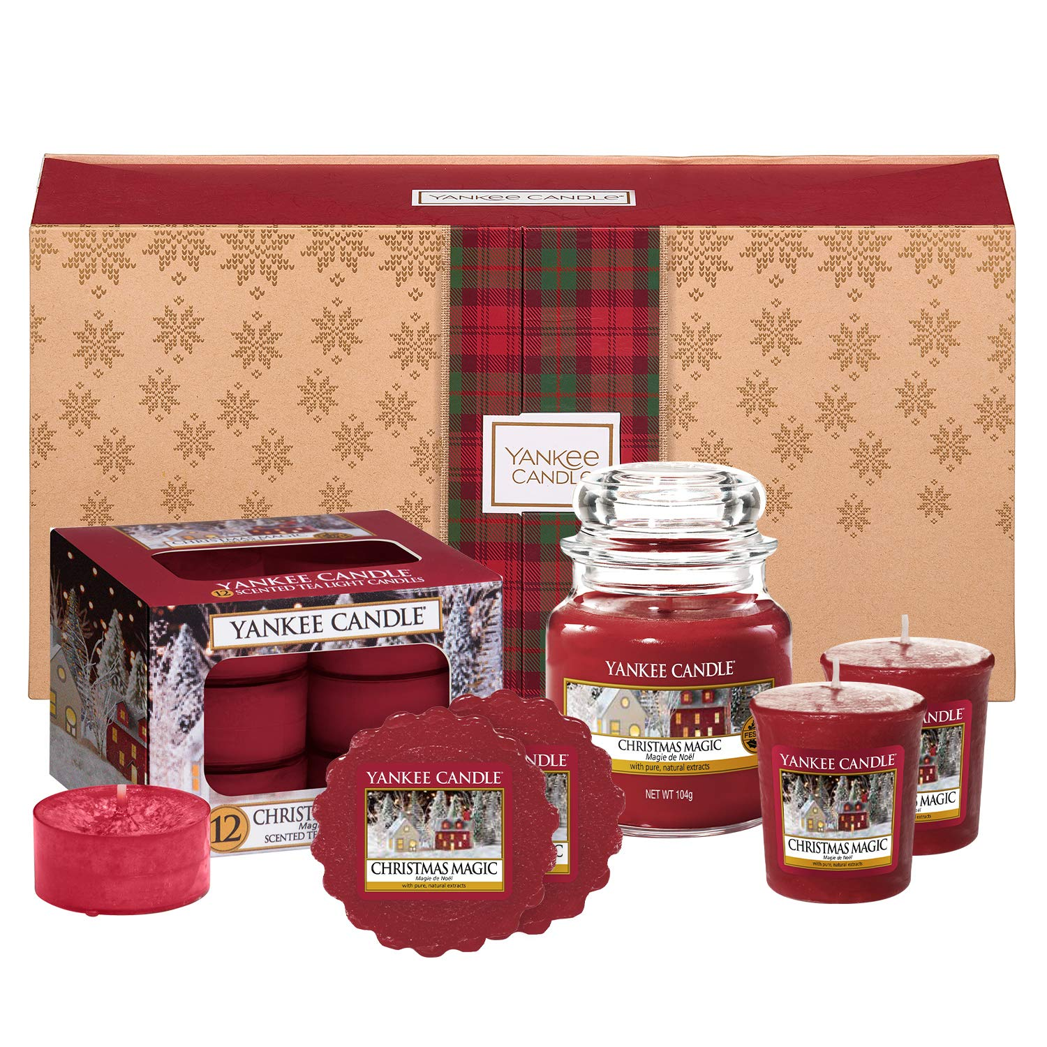 Yankee Candle Scented Gift Set with 1 Small Jar Candle, 2 Votive Candles, 12 Tea Lights and 2 Wax Melts