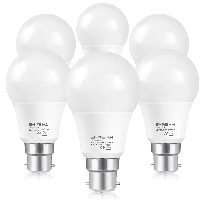 (6 Pack) SHINE HAI 60W Equivalent, B22 LED Bayonet Light Bulbs – £8.49 at Amazon