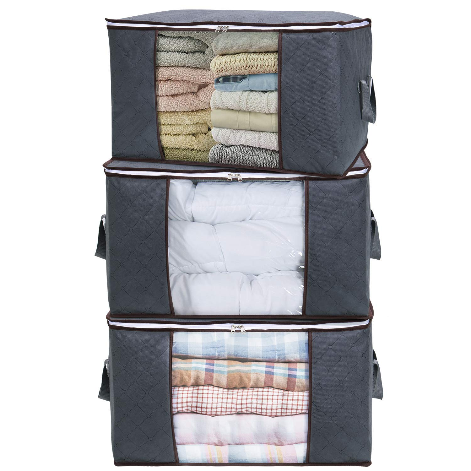 Large Capacity Clothes Storage Bag Organizer,3 Pack