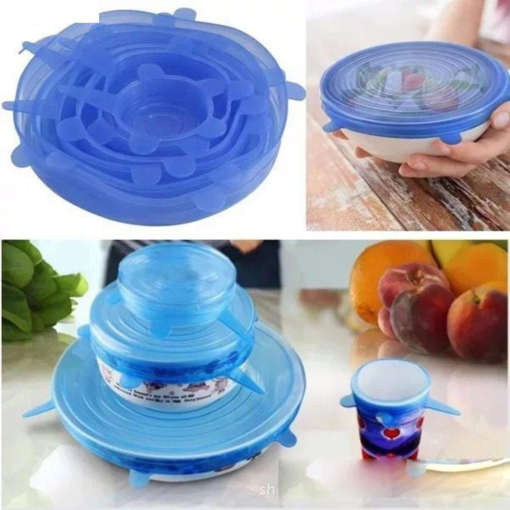 6 PCS Silicone Stretch Lids Reusable Bowl Sealed Fresh Cover Everything