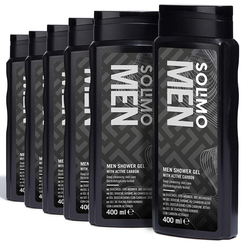 Solimo Men Shower Gel with Active Carbon- Pack of 6