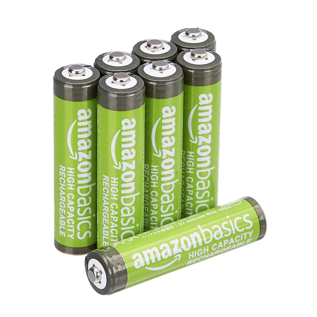 AmazonBasics High Capacity AAA Pre-Charged Rechargeable Batteries 850 mAh / minimum: 800 mAh [Pack of 8] for £8.87