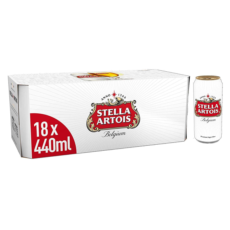 Stella Artois Lager, 18 x 440 ml £12 for Prime Member Only
