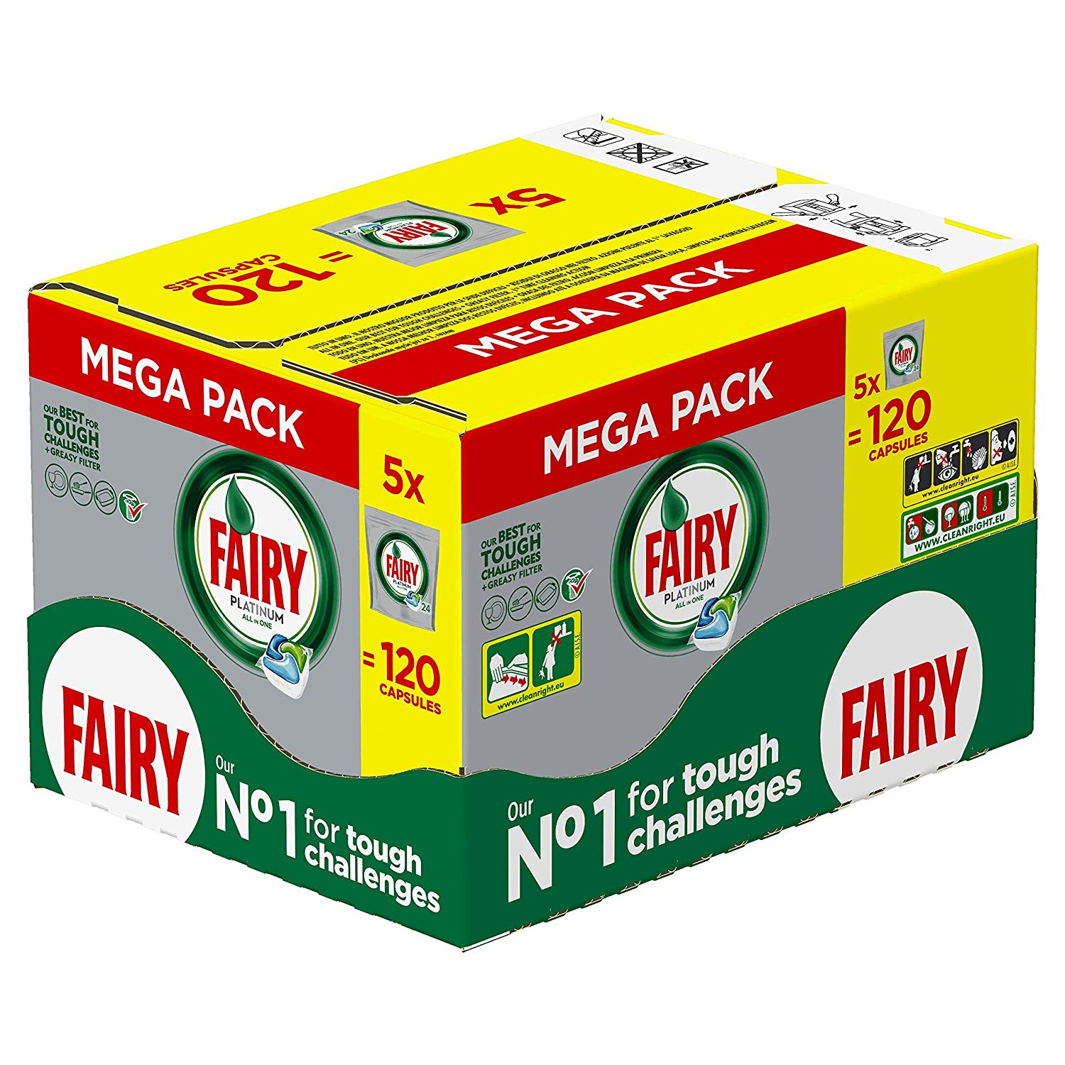 Fairy Platinum Dishwasher Tablets, 5 x 24 Tablets
