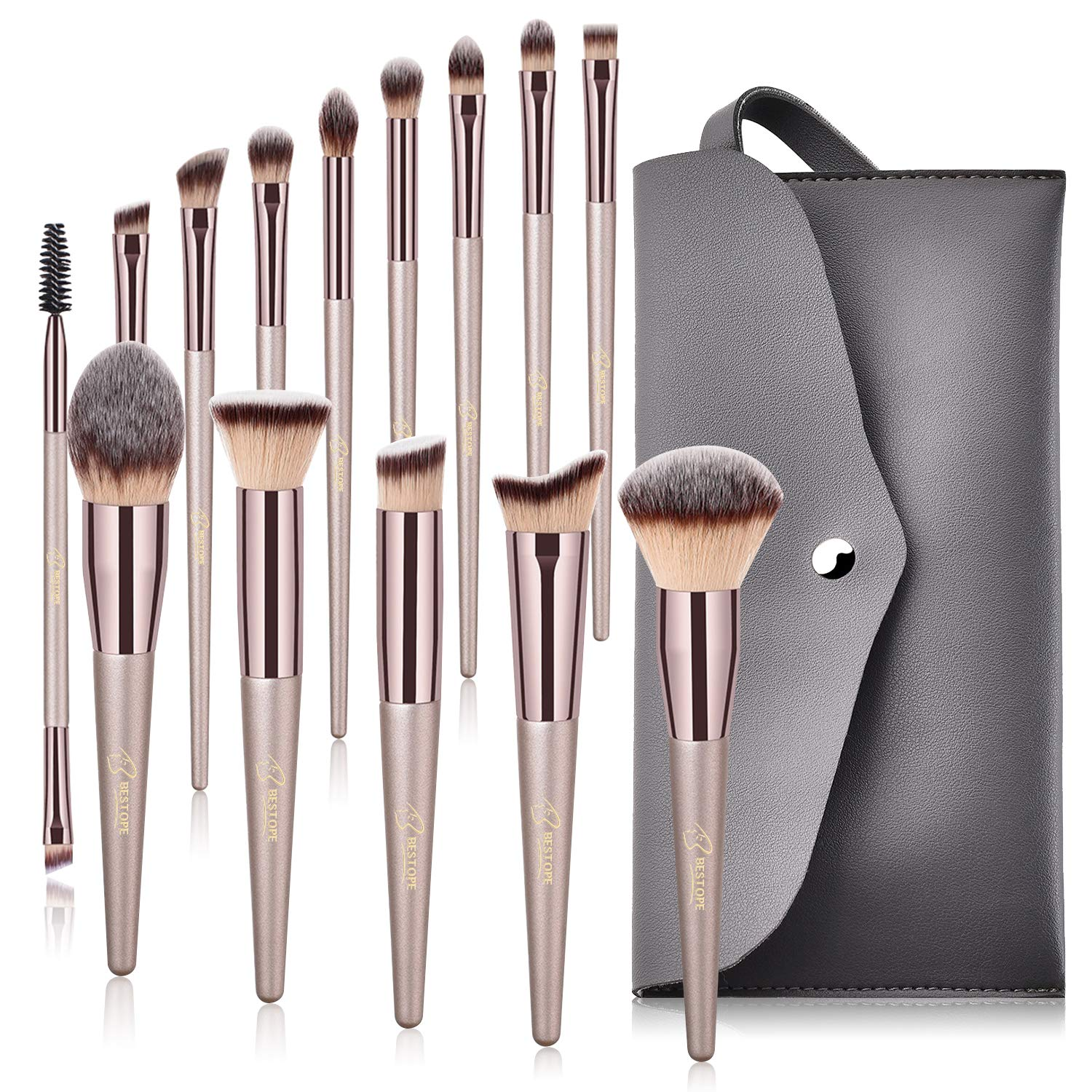 14 Pcs Premium Synthetic Make up Brushes Champagne Gold Brushes Set