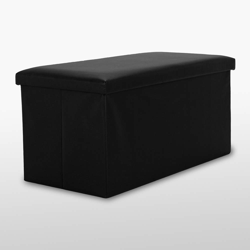 Large Faux Leather  Pouffe Stool Folding Storage Box Collapsible