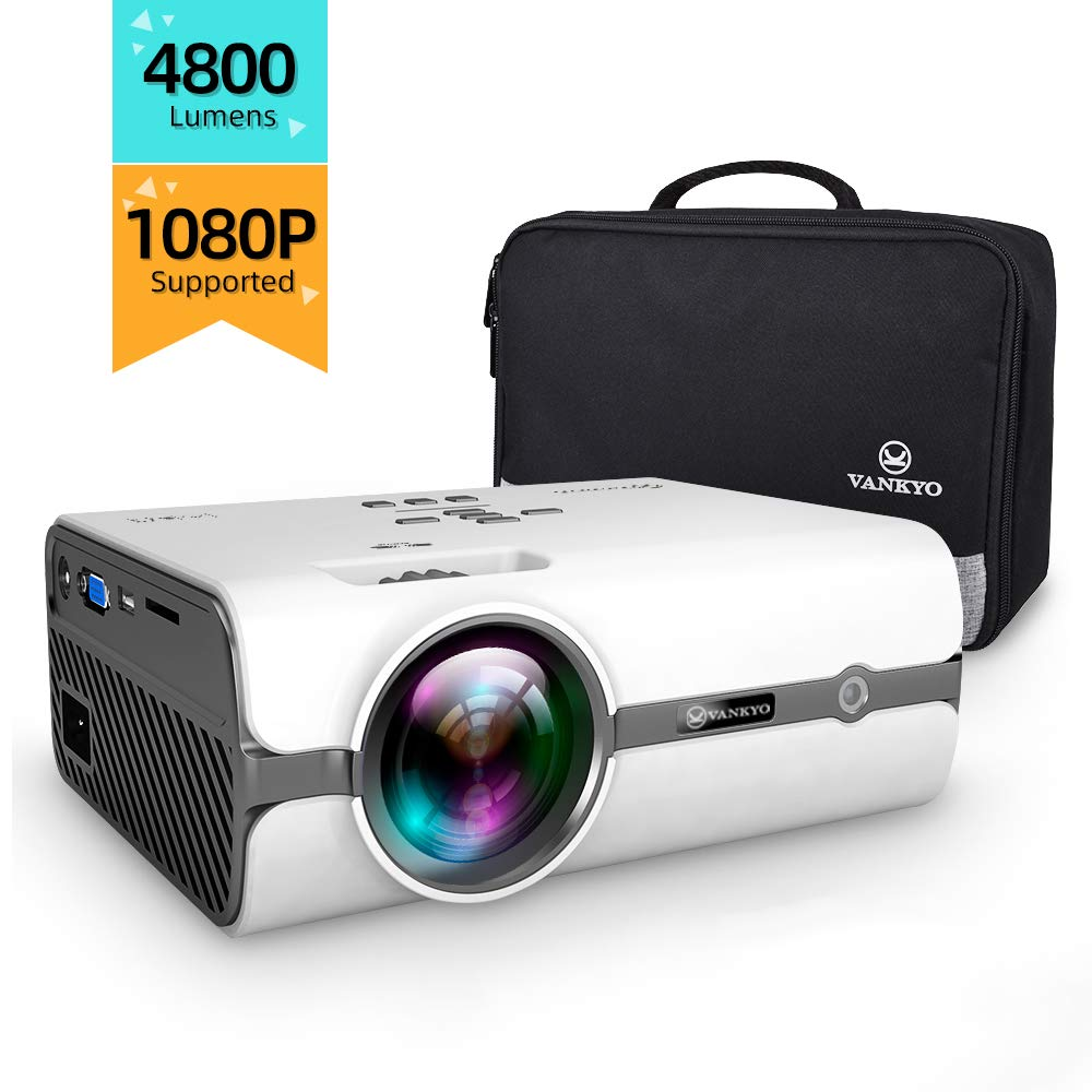 Portable Mini Projector, 4800 Lumens Video Projector Support 1080P