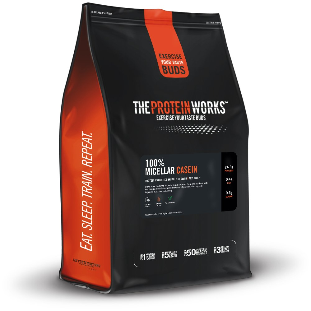 THE PROTEIN WORKS 100% Micellar Casein (Includes Free Shaker + Scoop) -1kg