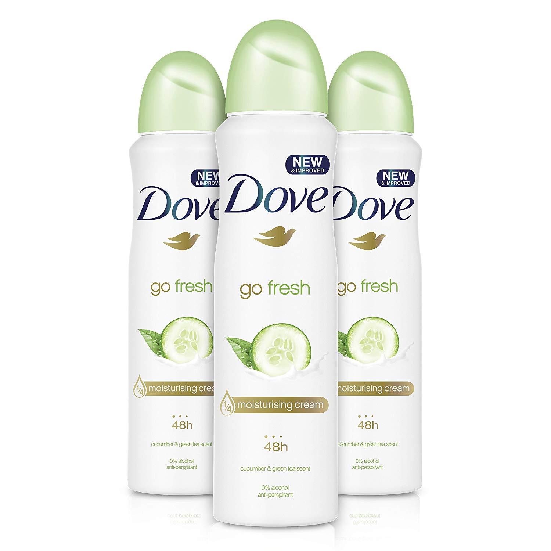 Dove Go Fresh Cucumber Aerosol Anti-Perspirant Deodorant 150 ml – Pack of 3 -£2.99 Amazon Prime
