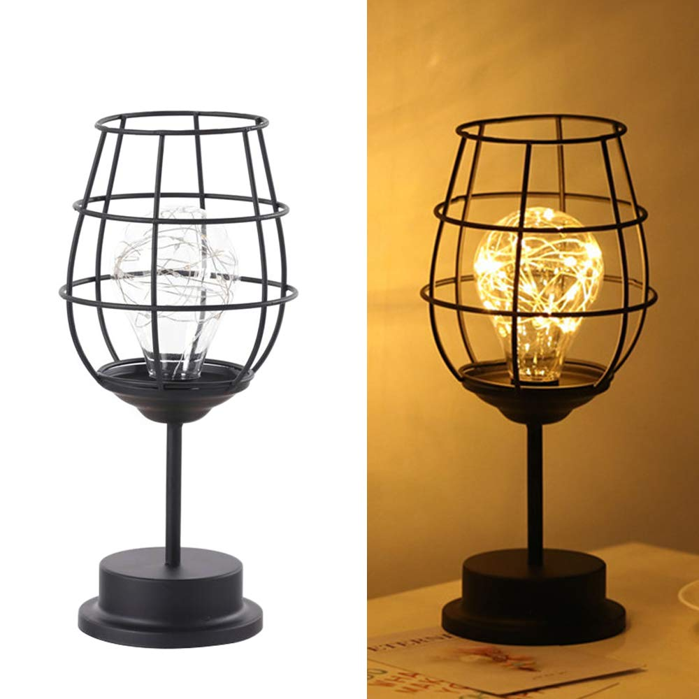Lixada Retro Hollow Iron Art Lamp Warm White Bedroom Night Light