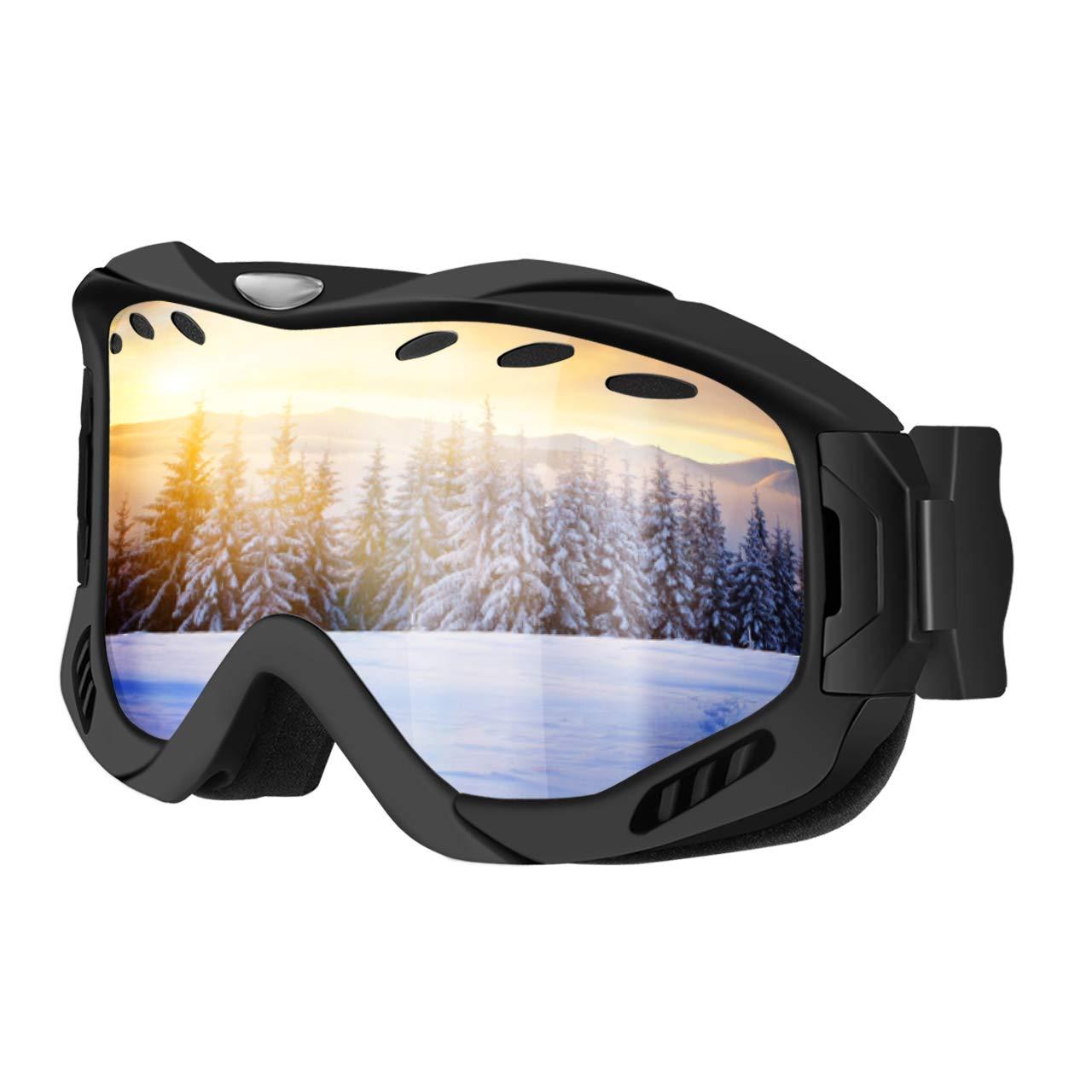 Ski Goggles UV400 Protection Anti-fog OTG Over Glass