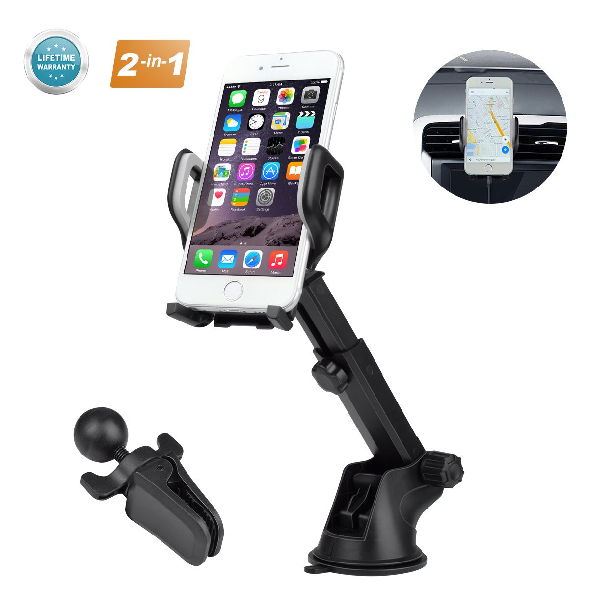 EUKK Car Phone Mount 3-in-1 Windshield